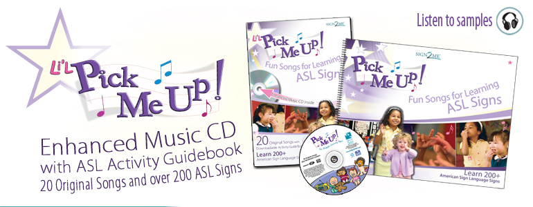pick me up music and activity guidebook learn over 200 ASL signs along with 20 original songs